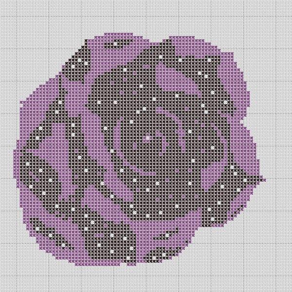 Rose violette reflet nuit (grille payante)